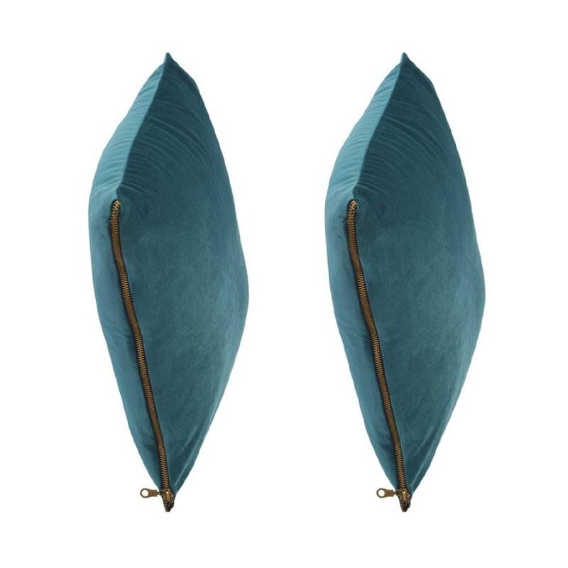 et of 2 MOSALI cushions in blue velvet 40x40
