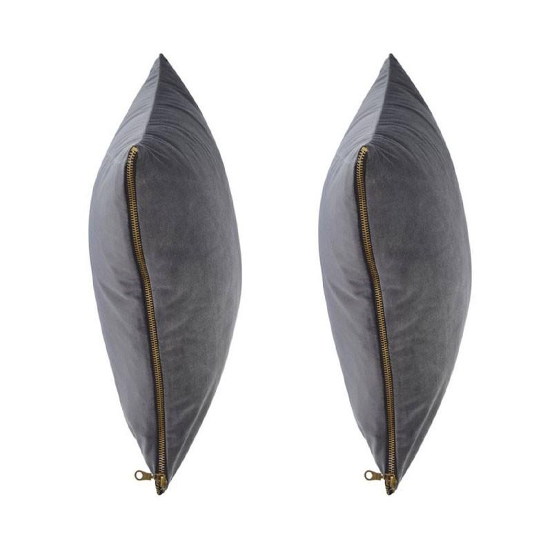 et of 2 MOSALI cushions in anthracite velvet 40x40