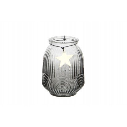 Glass candle jar with gold...