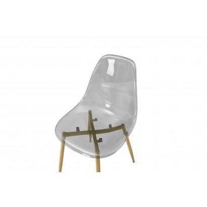 Lot De 2 Chaises Type Scandinave Transparente Klary Couleur Gris Collection Ice