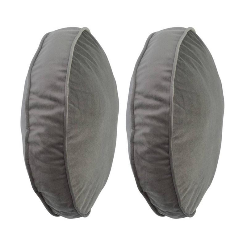 Lot de 2 coussins COLETTE ronds en velours gris D45