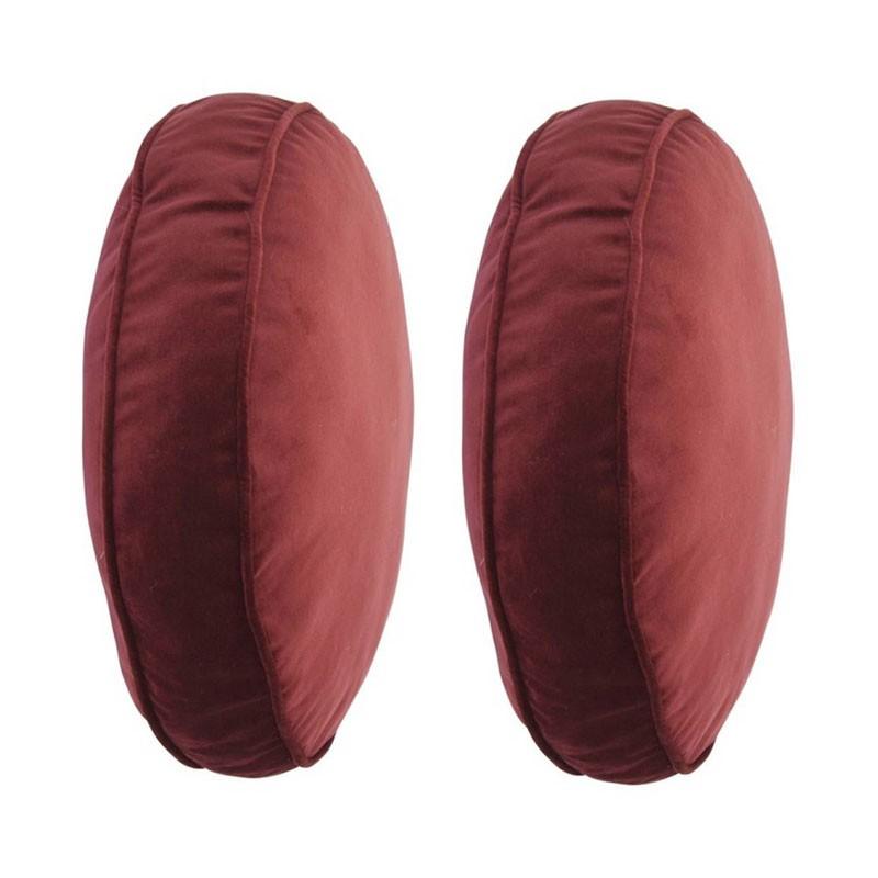Set of 2 COLETTE round cushions in bordeaux velvet D45