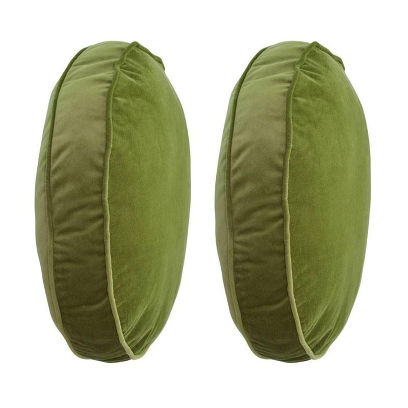 Set van 2 ronde kussens COLETTE van groen fluweel D45