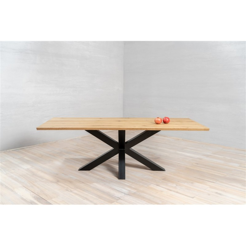 Table à manger  Pieds Croisés en Bois chêne massif  Epaisseur 4cm