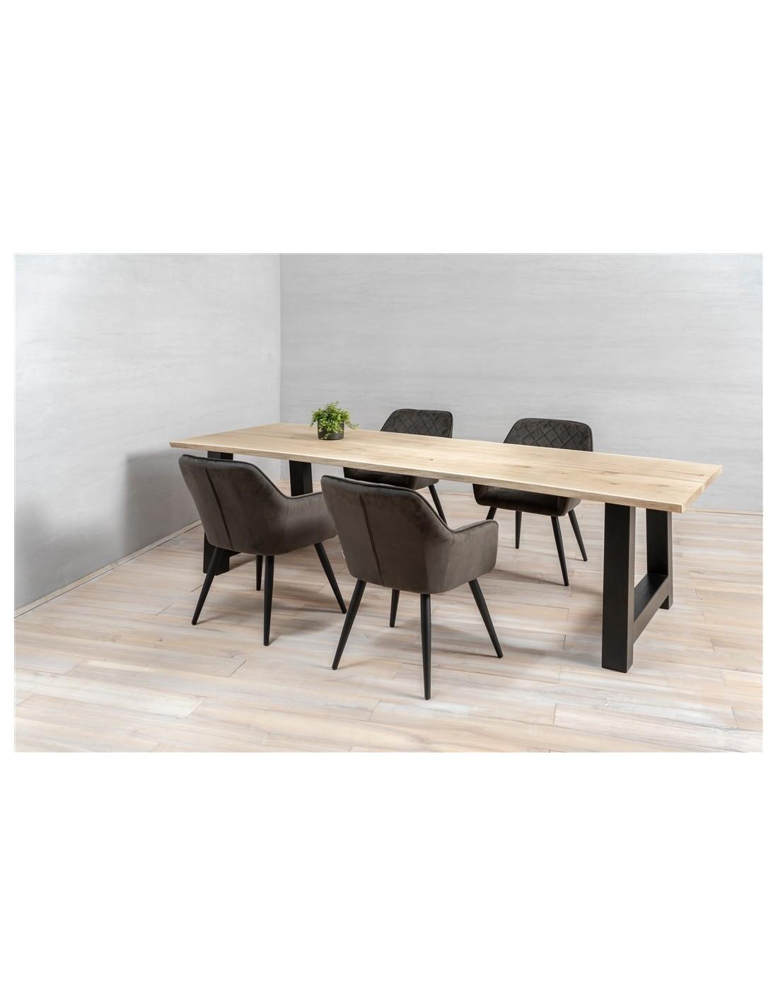 Dining Table Metal Legs In Solid Oak, Dining Room Table Metal Legs