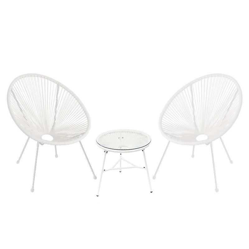 Lot de 2 fauteuils de jardin + table basse D50cm accapulco copacabana oeuf filaire