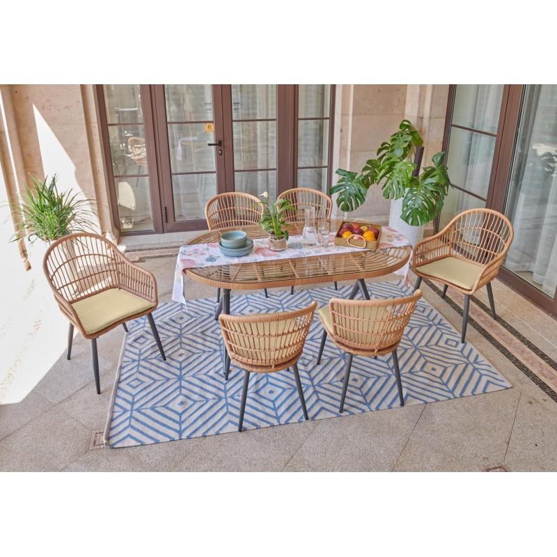 Set de table de jardin 6 personnes + 4chaises +2fauteuils