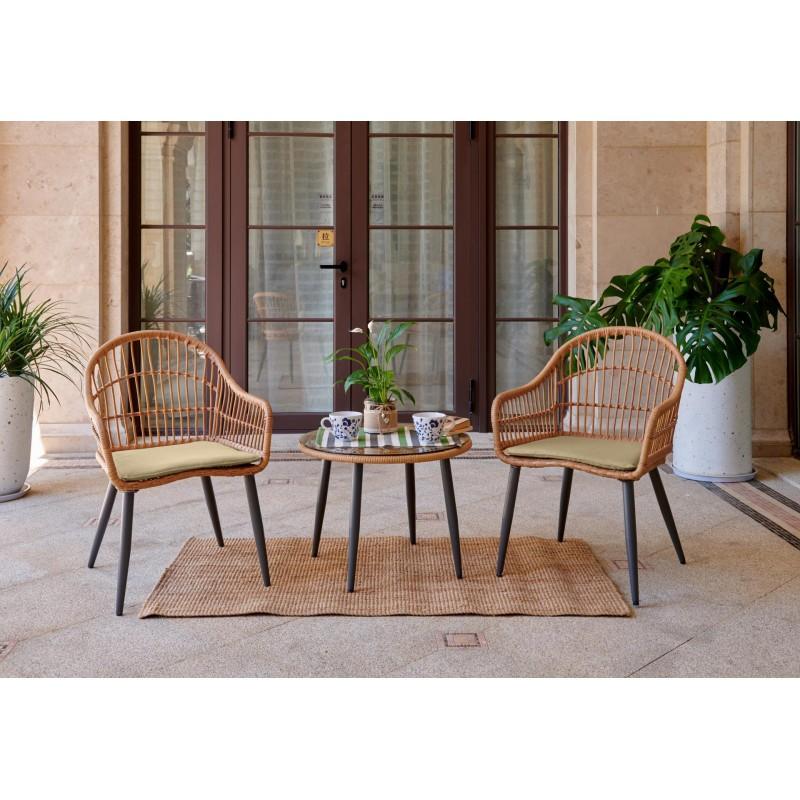 Set 3 Pièces de jardin 2 fauteuils coussins inclus +table