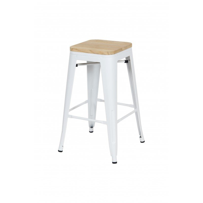 Industrial bar stool with mango wood seat inspired by tolix mat H66