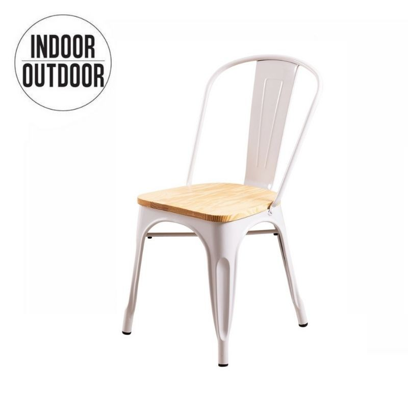 Industrial dining room chair with wood seat inspired by Tolix
