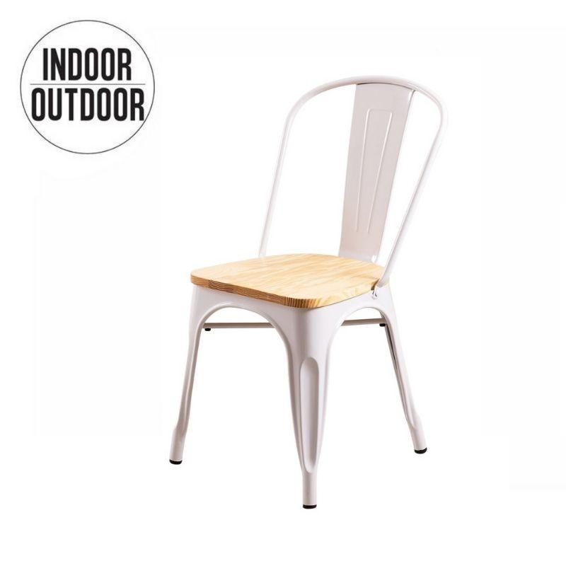 Industriële eetkamerstoel met houten zitting geïnspireerd op de Tolix-stoel