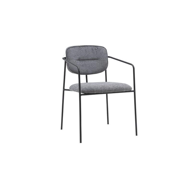 Chaise en tissu chiné accoudoirs et pieds en métal noirs, 54x55xH79 cm - MARLA