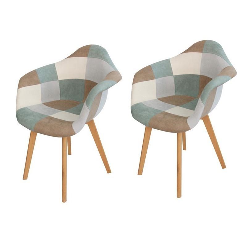 lot de 2 ORAZ chaises patchwork avec accoudoirs