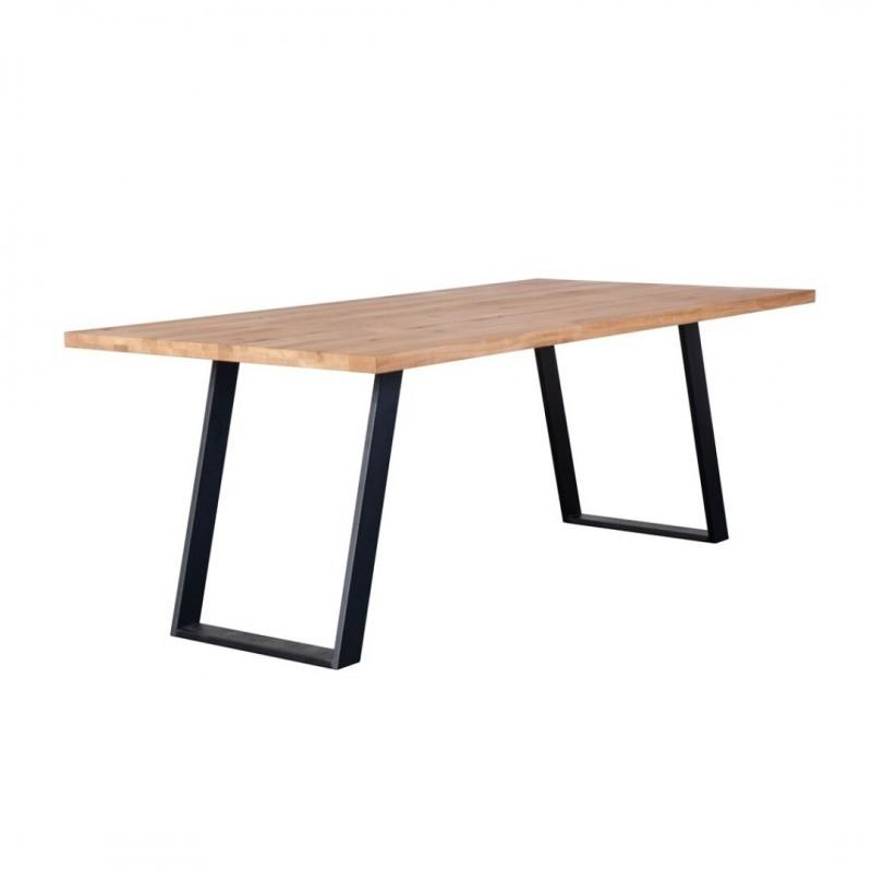Table à manger en Bois de chêne naturel massif avec pieds métal-HISA