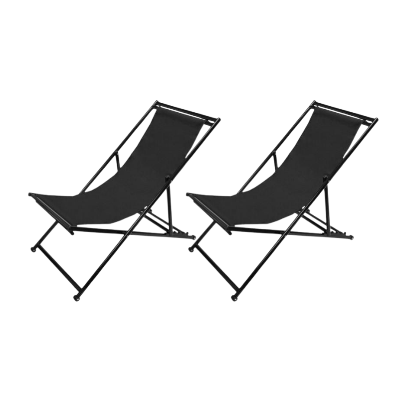 Lot de 2 chaises longue Siesta / chilienne pliante en métal noir tissu noir