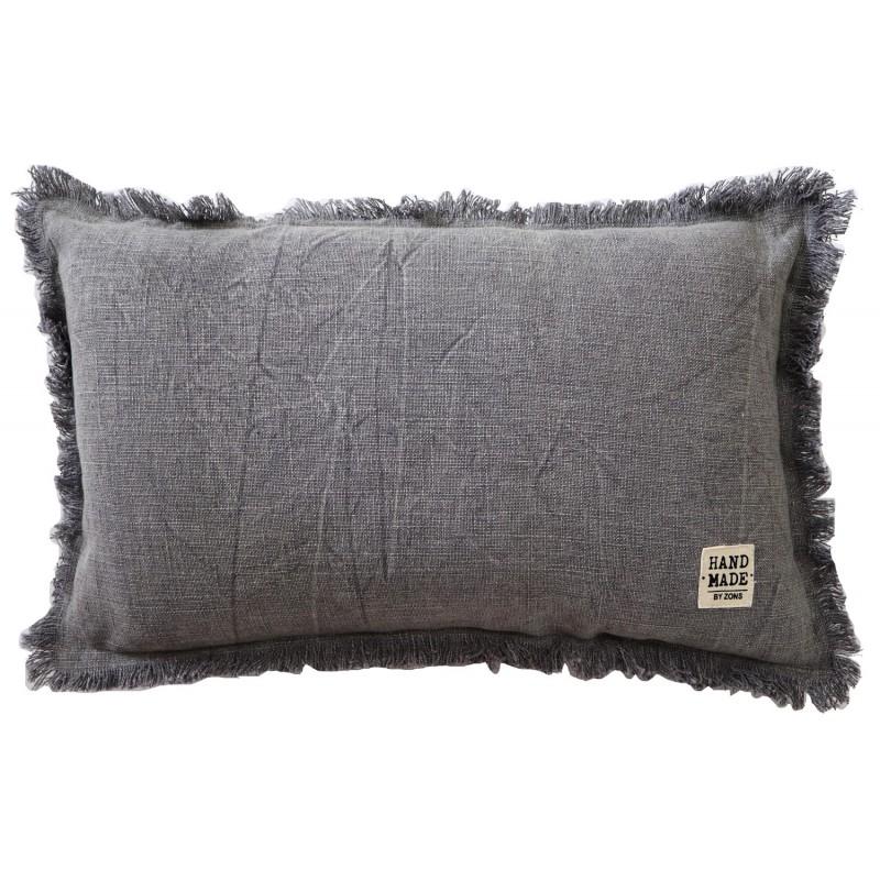 Coussin rectangle en coton chiné avec franges, 30x50CM / 430g - HAND MADE