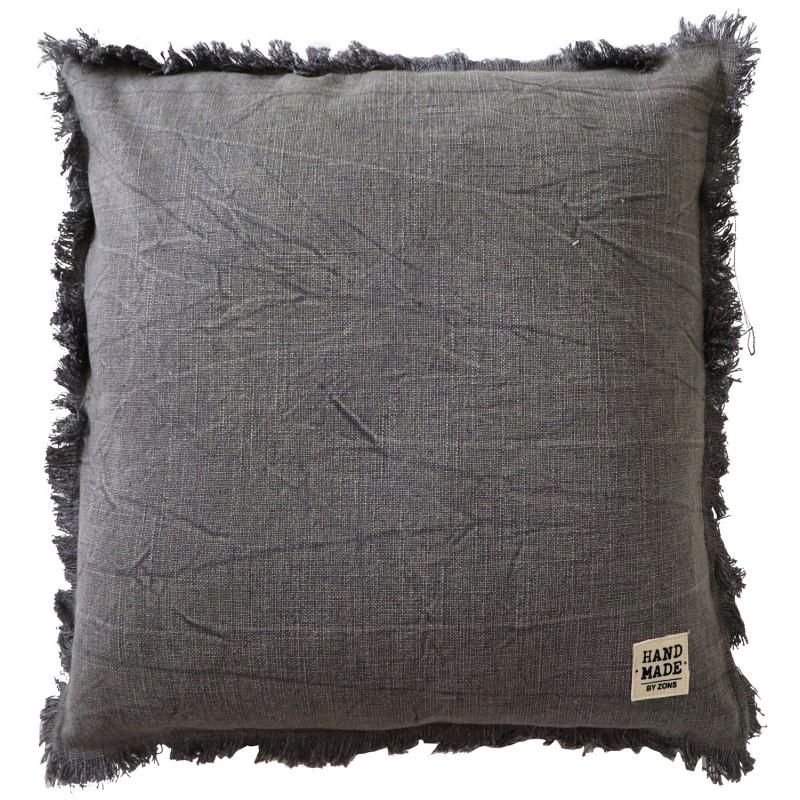 Coussin carré en coton chiné avec franges, 45x45CM / 570g - HAND MADE