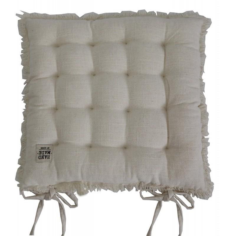 Galette de chaise carré en coton chiné matelassé à franges, 40x40xEP5CM - HAND MADE
