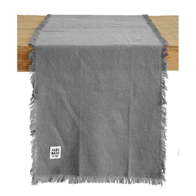 Chemin de table en coton chiné à franges, 45x145CM- HAND MADE