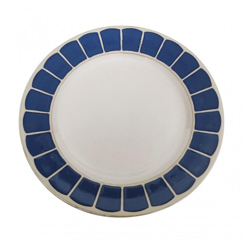 Assiette dessert en céramique à imprimés bleu, D20CM - AZUL