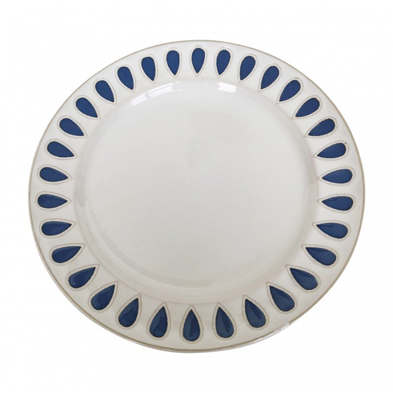 Assiette plate en céramique à imprimés bleu, D27CM - AZUL