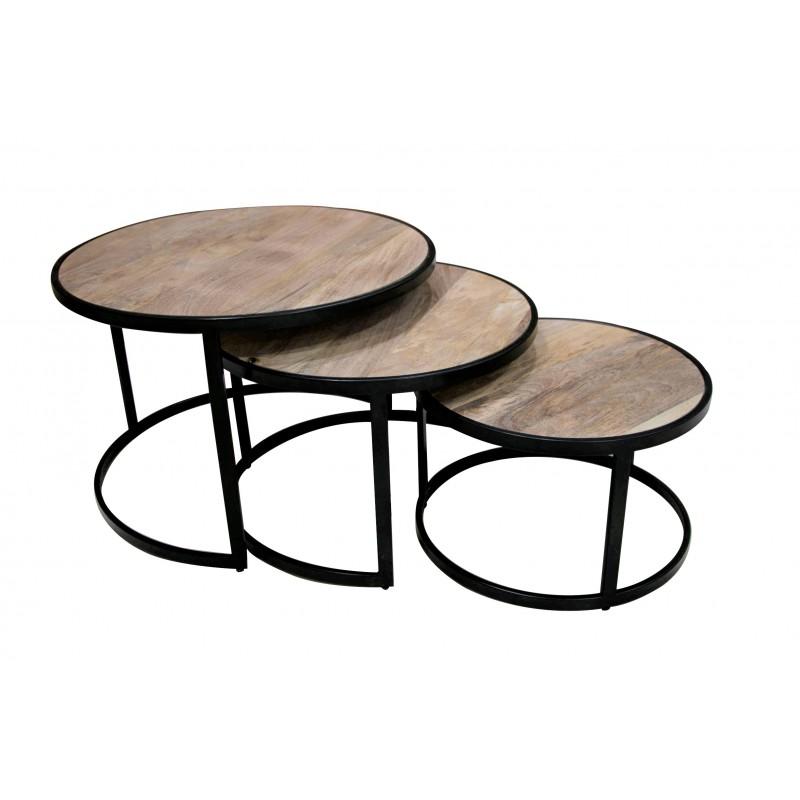 Table basse ronde en set de 3, en bois de manguier, D70xH46 / D60xH38 / D50xH31CM