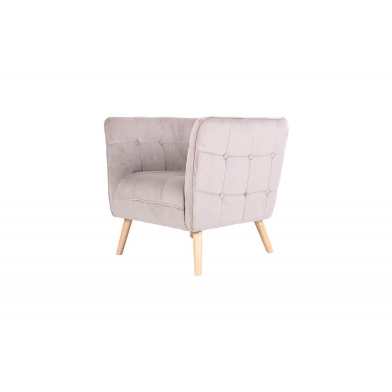 Fauteuil en velours assise enveloppante, pieds naturels, 74,5X81XH75CM - HARRIS
