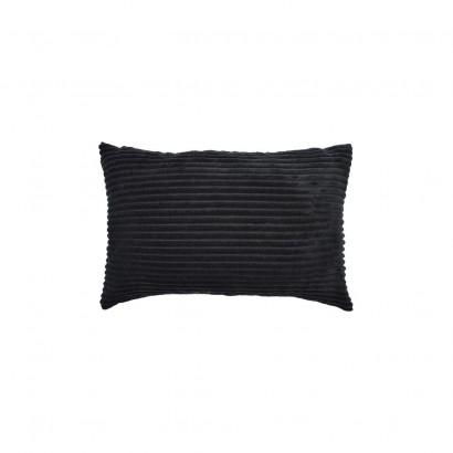 Coussin Look Velours 30x50cm (4 Couleurs) + Rembourrage 450g (Noir)