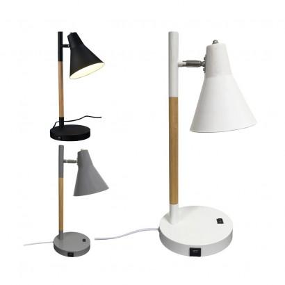 SWEDEN Lampe À Poser Ø18xH46cm 3 Couleurs AVEC PRISE USB  NOIR