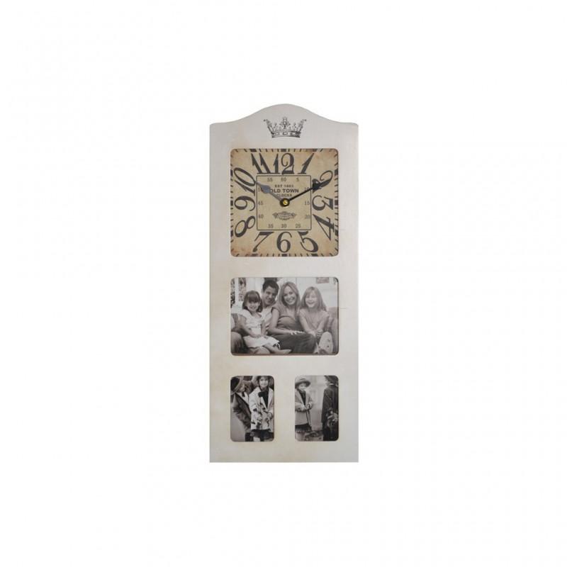 Horloge Pêle-Mêle 2 Couleurs 21x50cm BLANC