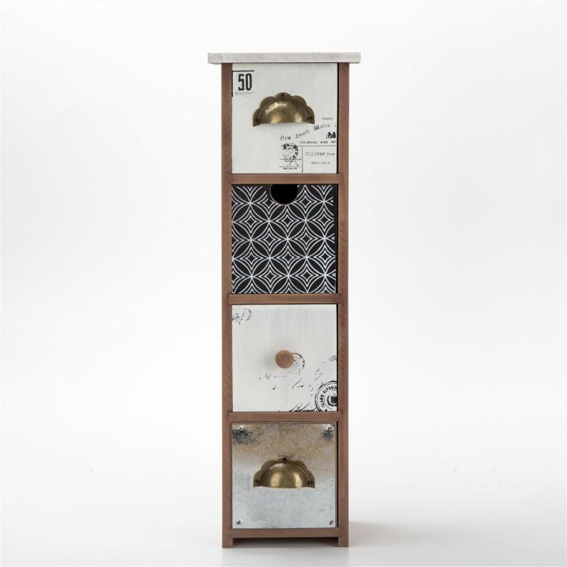 Petit Meuble Decoratif En Bois 13 5x11x45cm 4 Couleurs Noir