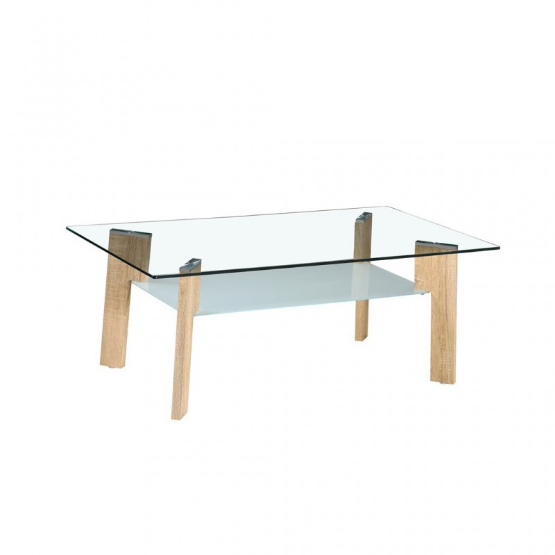 Glass Coffee Table Tempered 100x60xH44cm Look Wood Nature
