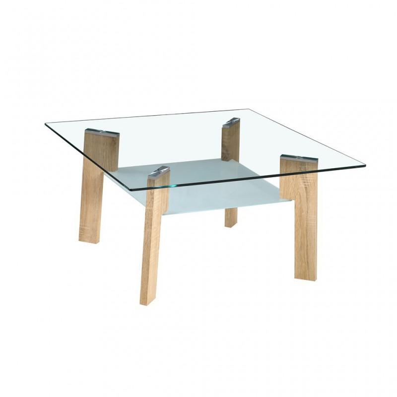 Table basse en verre avec pieds look bois