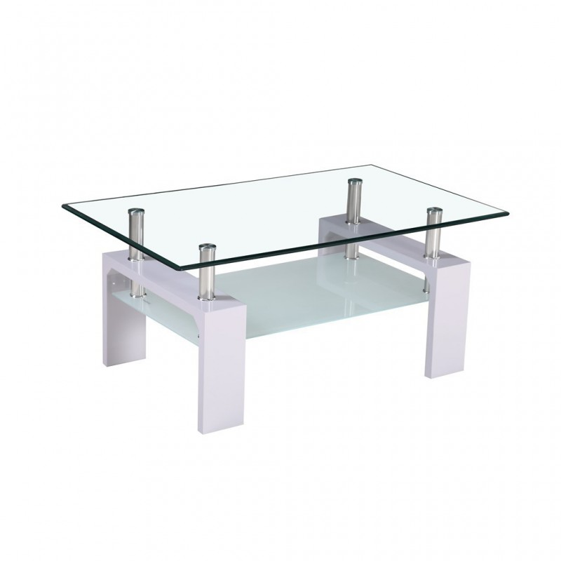 Glass Coffee Table Tempered 100x60xH44cm White Feet
