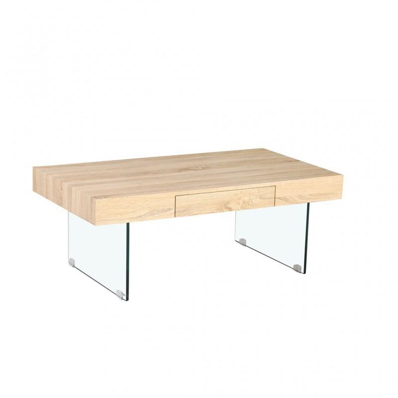 Table Basse En Bois Avec Pieds En Verre