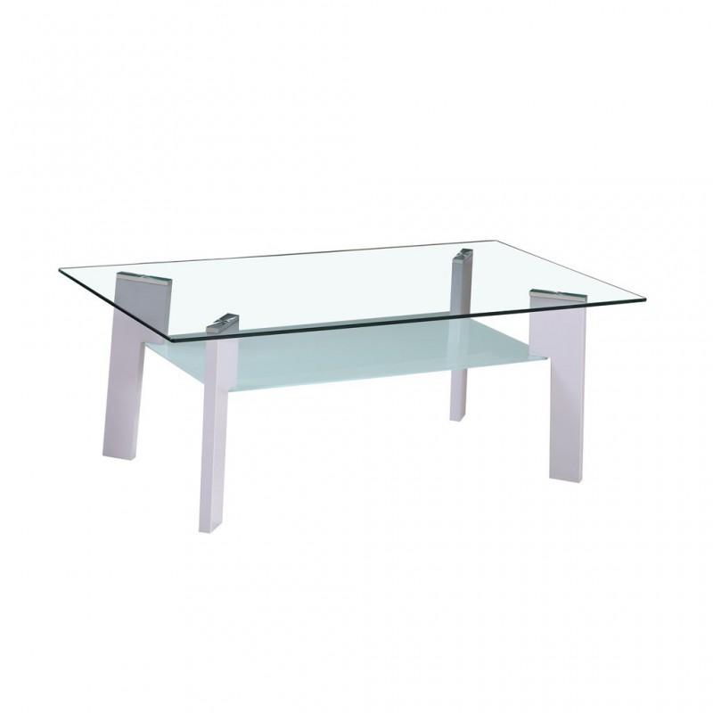 Basse Pieds Verre En Gris 110x60xh44cm Table 8wPX0knO