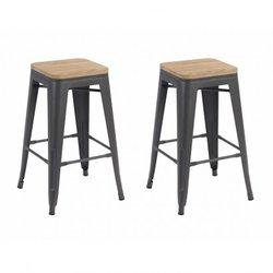 Set of 2 industrial bar stools