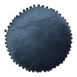 Coussin velours pompoms D50 cm