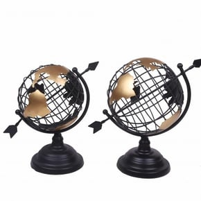 Metal Mapmonde Globe H28.5Cm