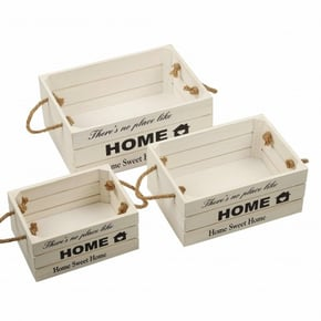 Set of 3 White Wooden Baskets