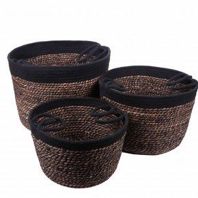 MIKEE set de 3 paniers noir