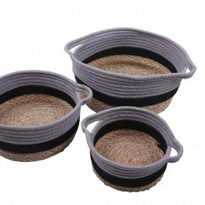DARYL set of 3 baskets grey