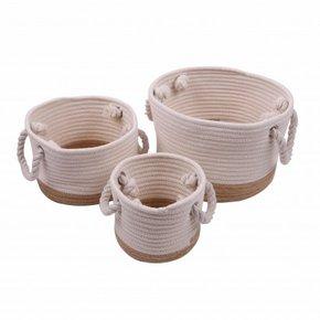 BANDOL set of 3 white baskets