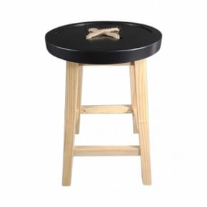 NOEUD Stool wooden feet - Noir
