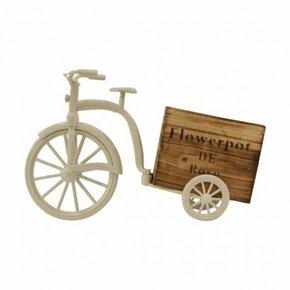 Witte fietsvormige bloempot