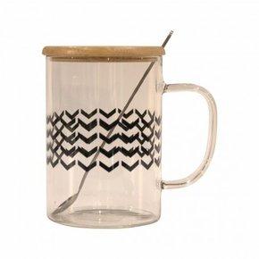 Mug en verre avec cuillère...