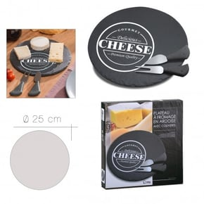 Slate round cheese board +...