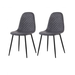 Set of 2 chaises look cuir...