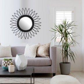 Black Rattan Sun Round Mirror