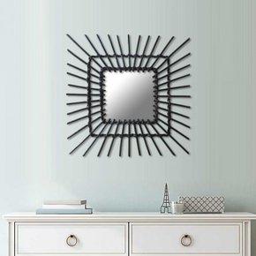 Miroir en rotin noir carré
